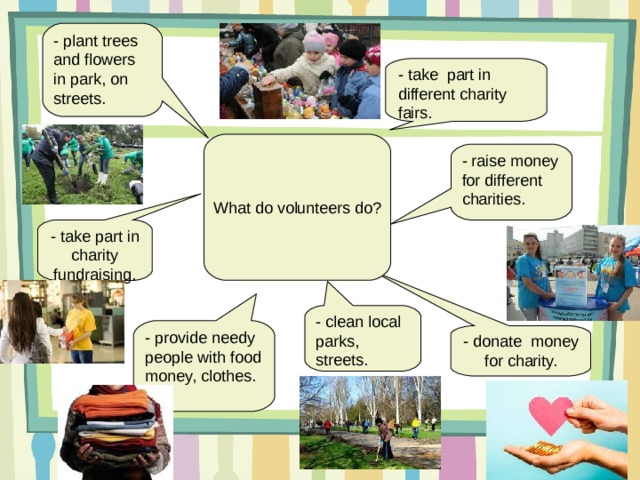 - provide needy people with food money, clothes. - plant trees and flowers in park, on streets. - take part in different charity fairs. What do volunteers do? - raise money for different charities. - take part in charity fundraising. - clean local parks, streets. - donate money for charity.