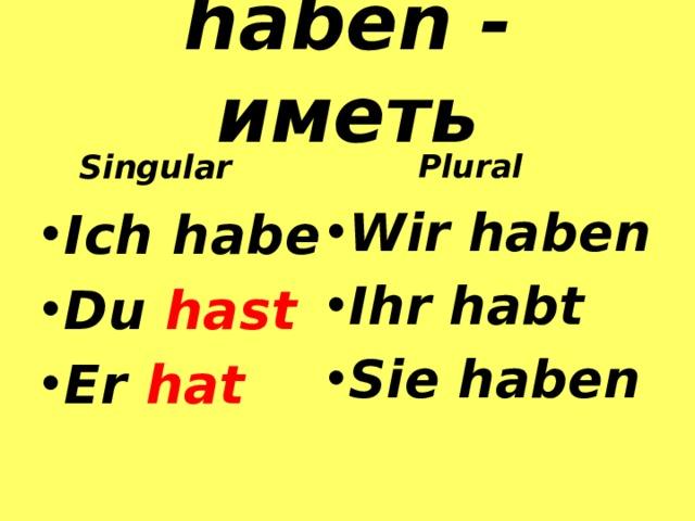 haben - иметь  Singular  Plural