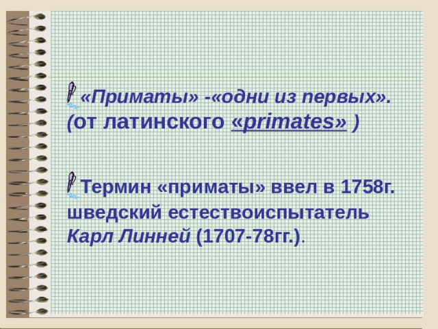 «Приматы» -«одни из первых». ( от латинского « primates »