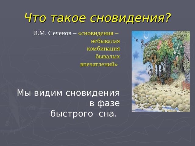 Что такое сновидения? И.М. Сеченов – «сновидения – небывалая комбинация бывалых впечатлений»  Мы видим сновидения в фазе  быстрого сна.