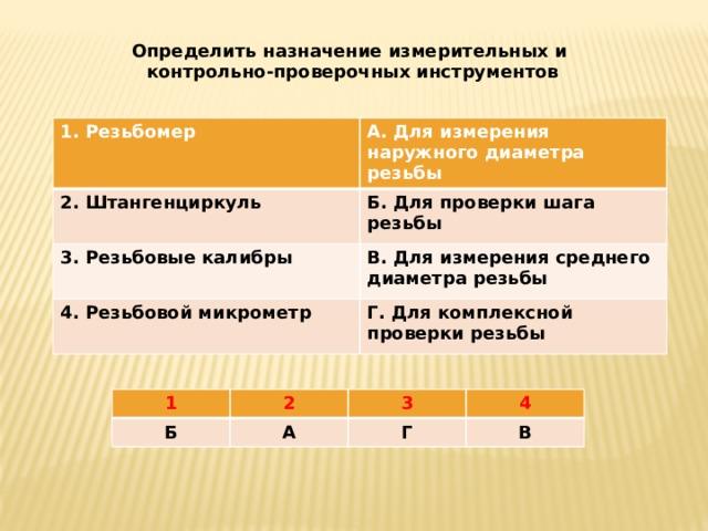 Определить назначение измерительных и контрольно-проверочных инструментов 1. Резьбомер  А. Для измерения наружного диаметра резьбы 2. Штангенциркуль  Б. Для проверки шага резьбы 3. Резьбовые калибры 4. Резьбовой микрометр В. Для измерения среднего диаметра резьбы   Г. Для комплексной проверки резьбы 1 2 Б 3 А 4 Г В
