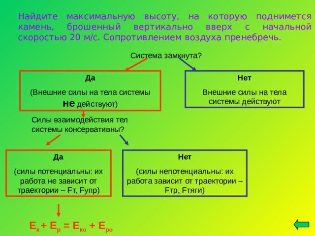 Найдите максимальную высоту, на которую поднимется камень, брошенный вертикально вверх с начальной скоростью 20 м/с. Сопротивлением воздуха пренебречь. Система замкнута? Да (Внешние силы на тела системы не действуют) Нет Внешние силы на тела системы действуют Силы взаимодействия тел системы консервативны? Да (силы потенциальны: их работа не зависит от траектории – F т, F упр) Нет (силы непотенциальны: их работа зависит от траектории – F тр, F тяги) Е к + Е р = Е ко + Е ро