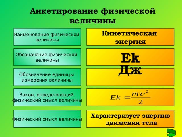 Анкетирование физической величины Наименование физической величины Кинетическая энергия Обозначение физической величины Е k Обозначение единицы измерения величины Дж  Закон, определяющий физический смысл величины Физический смысл величины Характеризует энергию  движения тела
