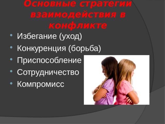 Основные стратегии  взаимодействия в конфликте
