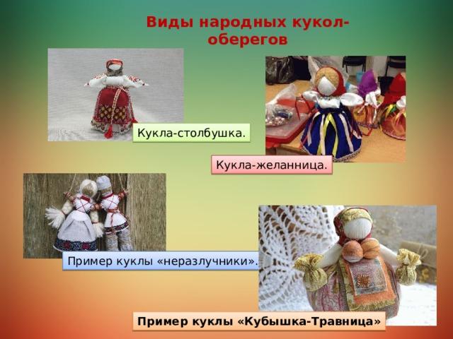 Виды народных кукол-оберегов Кукла-столбушка. Кукла-желанница. Пример куклы «неразлучники». Пример куклы «Кубышка-Травница»