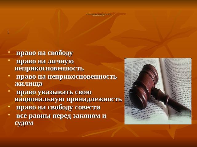 Глава 2. Права и свободы человека и гражданина  Гражданские (ст. 17-28)     :  право на свободу  право на личную неприкосновенность  право на неприкосновенность жилища  право указывать свою национальную принадлежность  право на свободу совести  все равны перед законом и судом
