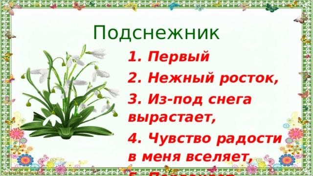 Подснежник 1. Первый 2. Нежный росток, 3. Из-под снега вырастает, 4. Чувство радости в меня вселяет, 5. Первоцвет.