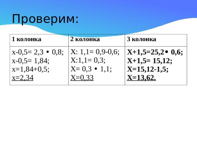 Проверим: 1 колонка 2 колонка х-0,5= 2,3 • 0,8; х-0,5= 1,84; х=1,84+0,5; х=2,34 3 колонка Х: 1,1= 0,9-0,6; Х:1,1= 0,3; Х= 0,3 • 1,1; Х=0,33 Х+1,5=25,2 • 0,6; Х+1,5= 15,12; Х=15,12-1,5; Х=13,62.