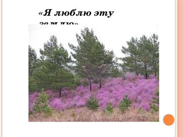 «Я люблю эту землю»
