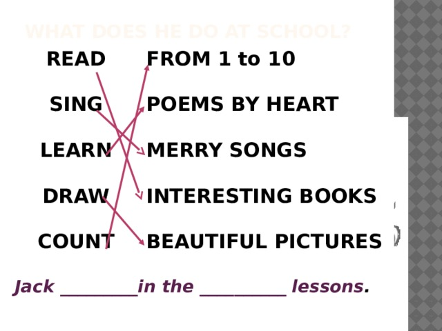 What does he do at school? READ FROM 1 to 10   SING  POEMS BY HEART LEARN  MERRY SONGS  DRAW   INTERESTING BOOKS  COUNT BEAUTIFUL PICTURES   Jack _________in the __________ lessons .