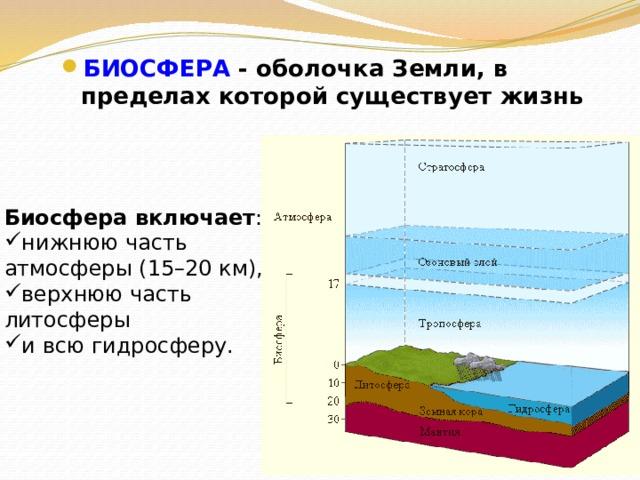БИОСФЕРА - оболочка Земли, в пределах которой существует жизнь Биосфера включает : нижнюю часть атмосферы (15–20 км), верхнюю часть литосферы и всю гидросферу.