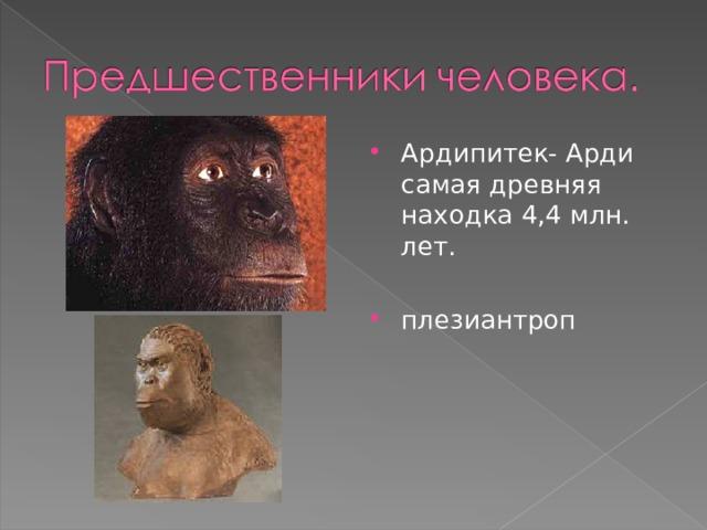 Ардипитек- Арди самая древняя находка 4,4 млн. лет.  плезиантроп