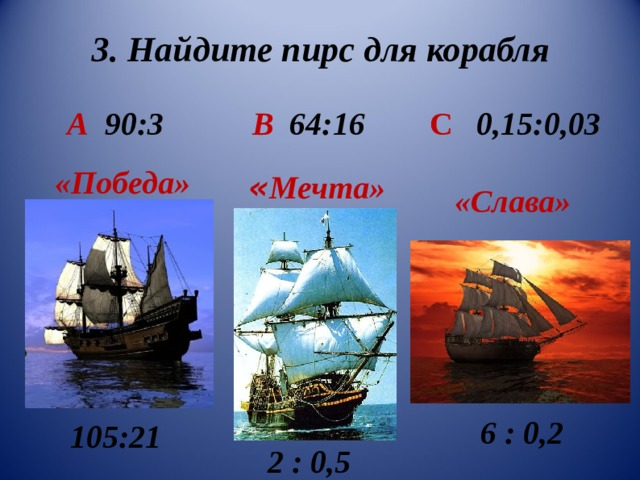 3. Найдите пирс для корабля  А 90:3 В 64:16  С    0,15:0,03 «Победа» « Мечта» «Слава»  6 : 0,2 105:21  2 : 0,5