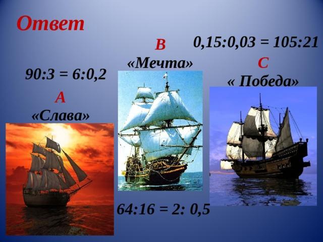 Ответ 0,15:0,03 = 105:21 В «Мечта» С « Победа» 90:3 = 6 : 0 , 2 А «Слава» 64:16 = 2: 0,5