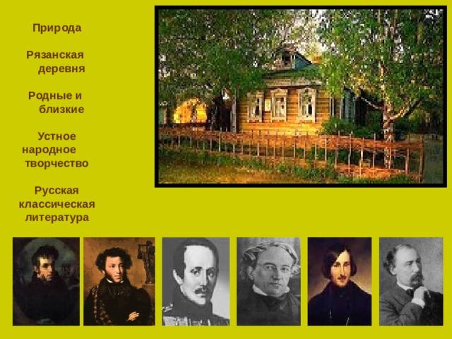 Природа   Рязанская  деревня   Родные и  близкие   Устное народное творчество   Русская классическая литература