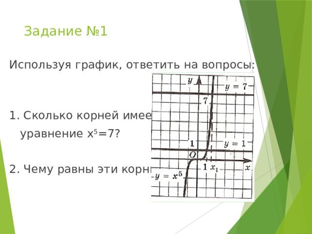 Задание №1 Используя график, ответить на вопросы: 1. Сколько корней имеет  уравнение х 5 =7? 2. Чему равны эти корни?