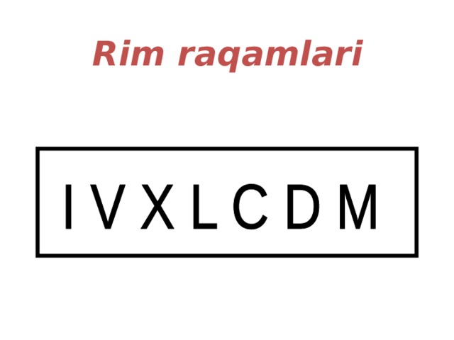 Rim raqamlari