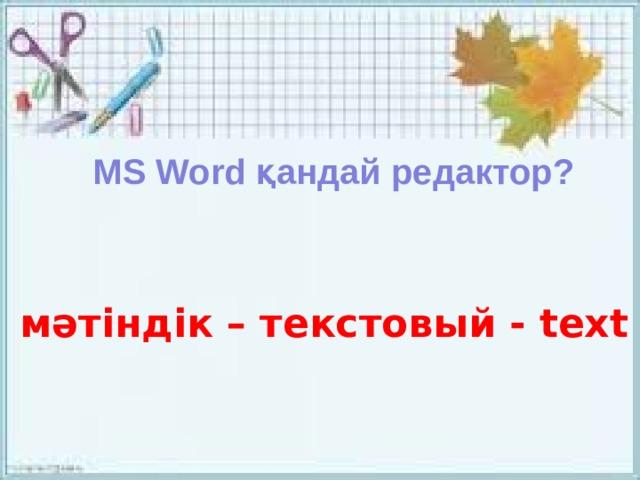 MS Word қандай редактор? мәтіндік – текстовый - text