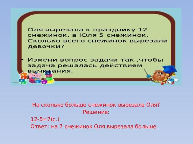 На сколько больше снежинок вырезала Оля? Решение: 12-5=7(с.) Ответ: на 7 снежинок Оля вырезала больше.