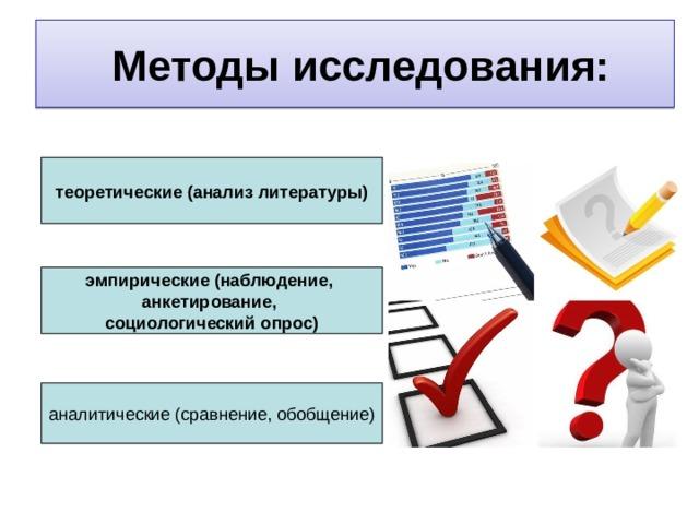 Методы исследования: теоретические (анализ литературы) эмпирические (наблюдение, анкетирование, социологический опрос)