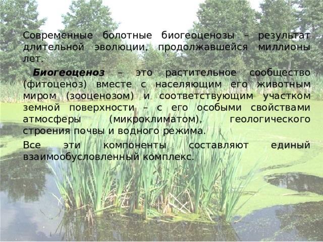 Современные болотные биогеоценозы – результат длительной эволюции, продолжавшейся миллионы лет.    Биогеоценоз – это растительное сообщество (фитоценоз) вместе с населяющим его животным миром (зооценозом) и соответствующим участком земной поверхности – с его особыми свойствами атмосферы (микроклиматом), геологического строения почвы и водного режима.   Все эти компоненты составляют единый взаимообусловленный комплекс.