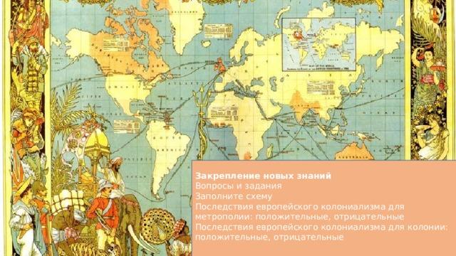 Закрепление новых знаний Вопросы и задания Заполните схему Последствия европейского колониализма для метрополии: положительные, отрицательные Последствия европейского колониализма для колонии: положительные, отрицательные