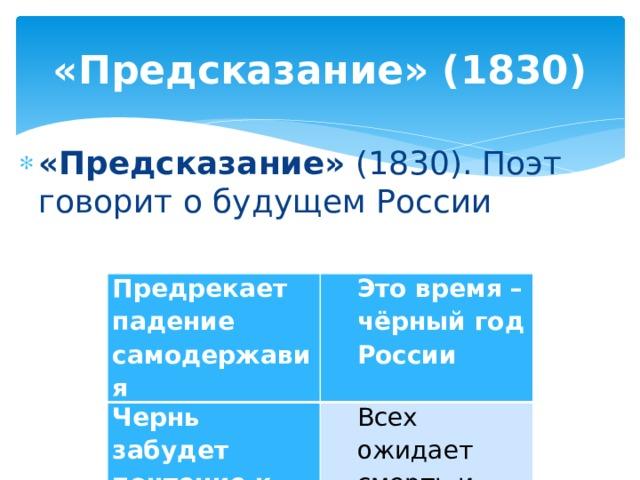«Предсказание» (1830) «Предсказание» (1830). Поэт говорит о будущем России Предрекает падение самодержавия Чернь забудет почтение к господам Это время – чёрный год России Всех ожидает смерть и кровь мстителя