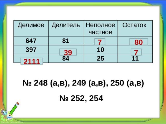Делимое Делитель 647 Неполное частное 81 397 Остаток 10 84 25 11 7 80 39 7 2111 № 248 (а,в), 249 (а,в), 250 (а,в) № 252, 254