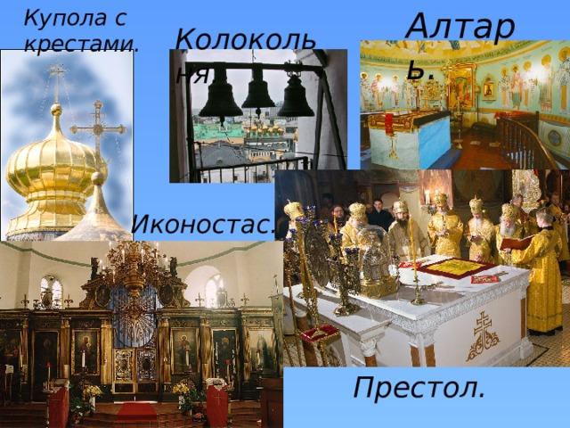 Купола с крестами. Алтарь. Колокольня. Иконостас. Престол.