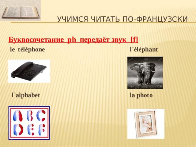 Учимся читать по-французски Буквосочетание ph передаёт звук [ f]  le téléphone l`éléphant      l`alphabet la photo
