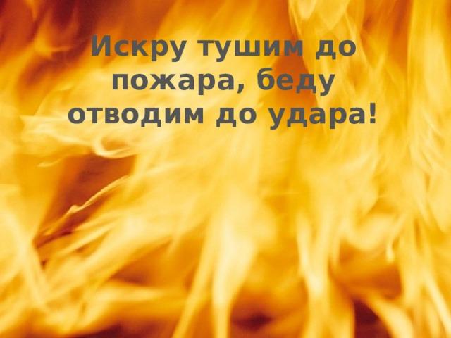 Искру тушим до пожара, беду отводим до удара!