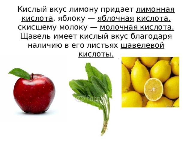 Кислый вкус лимону придает лимонная кислота , яблоку — яблочная  кислота, скисшему молоку — молочная кислота. Щавель имеет кислый вкус благодаря наличию в его листьях щавелевой кислоты.