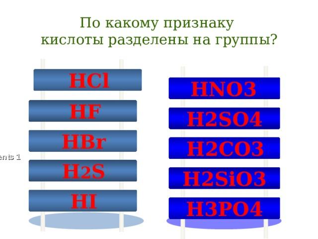 По какому признаку  кислоты разделены на группы?  HCl HNO 3  Design Inc.  HF H 2 SO 4  HBr  H 2 CO 3 Contents 1  H 2 S H 2 SiO 3 Contents 2  HI H 3 PO 4