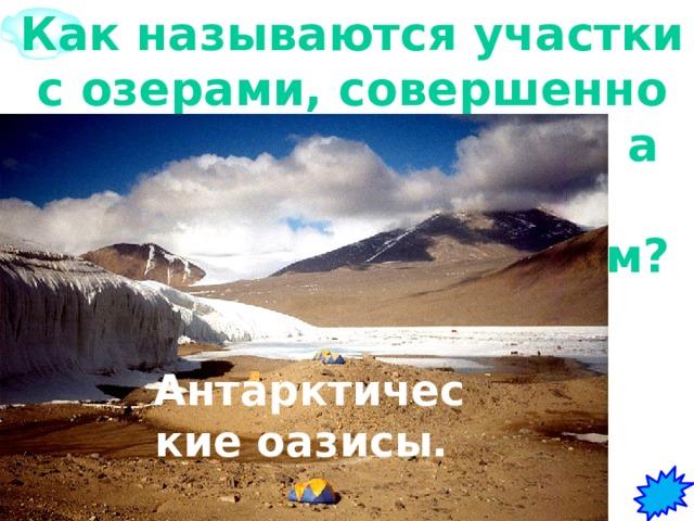 1 Как называются участки с озерами, совершенно свободные ото льда, а летом и от снега, окруженные ледником?   Антарктические оазисы.