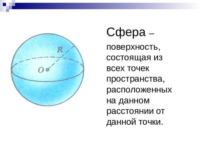 Сфера –  поверхность, состоящая из всех точек пространства, расположенных на данном расстоянии от данной точки.