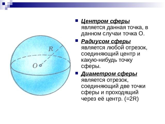 Центром сферы является данная точка, в данном случаи точка О. Радиусом сферы является любой отрезок, соединяющий центр и какую-нибудь точку сферы. Диаметром сферы