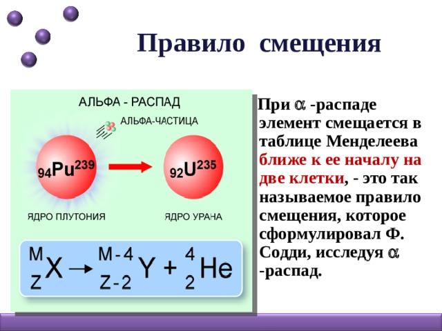 Правило смещения  При  -распаде элемент смещается в таблице Менделеева ближе к ее началу на две клетки , - это так называемое правило смещения, которое сформулировал Ф. Содди, исследуя  -распад.