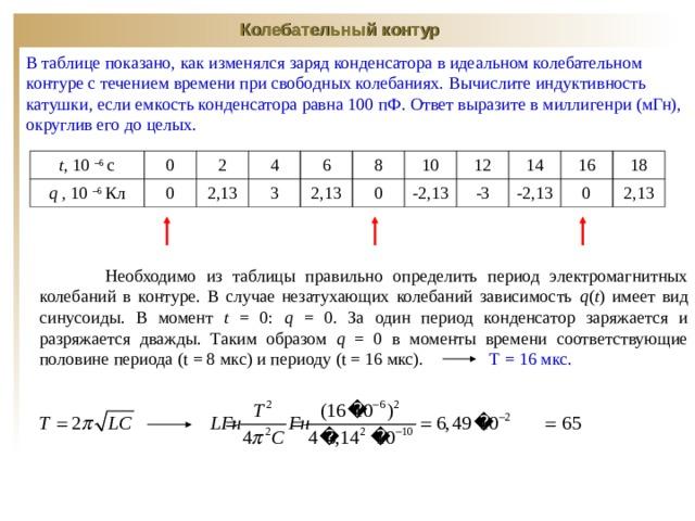 Колебательный контур В таблице показано, как изменялся заряд конденсатора в идеальном колебательном контуре с течением времени при свободных колебаниях.  Вычислите индуктивность катушки, если емкость конденсатора равна 100 пФ. Ответ выразите в миллигенри (мГн), округлив его до целых. t , 10 – 6 с 0 q , 10 – 6 Кл 2 0 4 2,13 3 6 8 2,13 0 10 12 -2,13 -3 14 16 -2,13 18 0 2,13  Необходимо из таблицы правильно определить период электромагнитных колебаний в контуре. В случае незатухающих колебаний зависимость q ( t ) имеет вид синусоиды. В момент t  = 0: q = 0 . За один период конденсатор заряжается и разряжается дважды. Таким образом q = 0 в моменты времени соответствующие половине периода ( t = 8 мкс ) и периоду ( t = 16 мкс). Т = 16 мкс.
