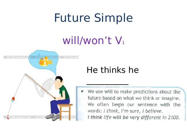 Future Simple will/won't V 1 He thinks he __________