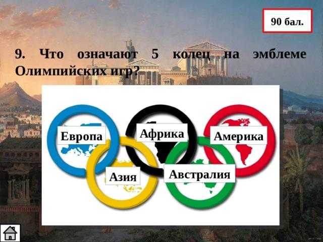 90 бал. 9. Что означают 5 колец на эмблеме Олимпийских игр? Африка Европа Америка Австралия Азия