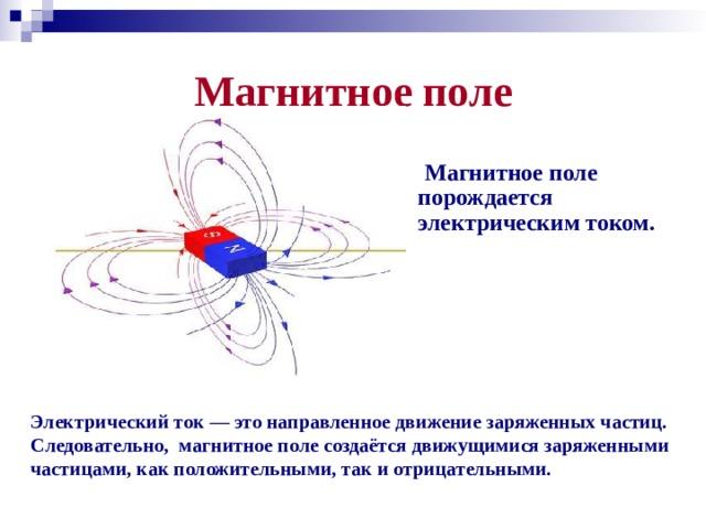 Магнитное поле  Магнитное поле порождается электрическим током.  Электрический ток — это направленное движение заряженных частиц. Следовательно, магнитное поле создаётся движущимися заряженными частицами, как положительными, так и отрицательными.