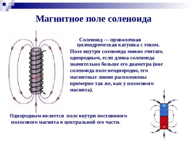 Магнитное поле соленоида     Соленоид — проволочная цилиндрическая катушка с током. Поле внутри соленоида можно считать однородным, если длина соленоида значительно больше его диаметра (вне соленоида поле неоднородно, его магнитные линии расположены примерно так же, как у полосового магнита). Однородным является поле внутри постоянного  полосового магнита в центральной его части.