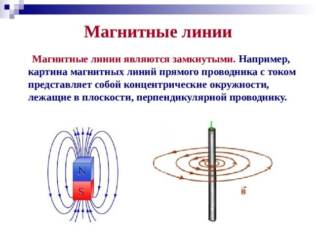 Магнитные линии  Магнитные линии являются замкнутыми. Например, картина магнитных линий прямого проводника с током представляет собой концентрические окружности, лежащие в плоскости, перпендикулярной проводнику.