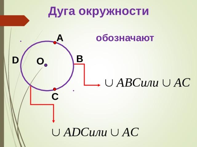 Дуга окружности A обозначают B D О C