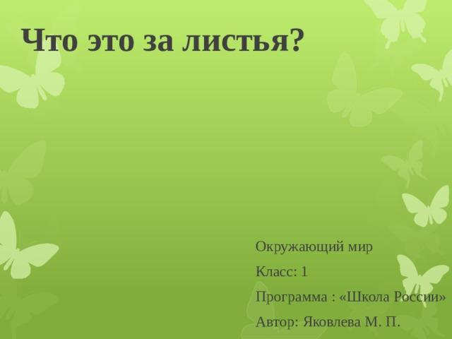 Что это за листья? Окружающий мир Класс: 1 Программа : «Школа России» Автор: Яковлева М. П.