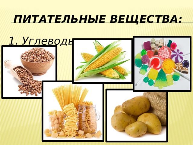 Питательные вещества: 1. Углеводы