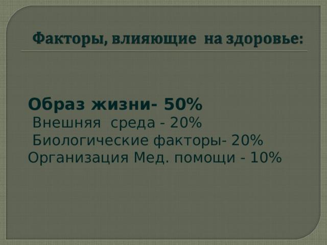 Образ жизни - 50%  Внешняя среда - 20%  Биологические факторы- 20% Организация Мед. помощи - 10%