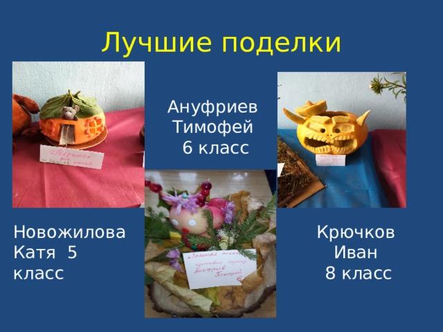 Лучшие поделки Ануфриев Тимофей  6 класс Новожилова Катя 5 класс Крючков Иван  8 класс