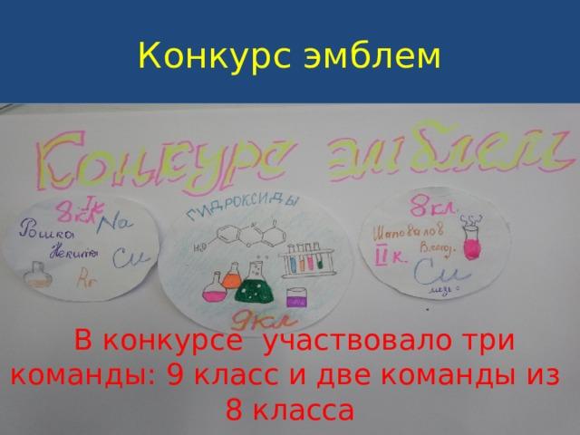 Конкурс эмблем  В конкурсе участвовало три команды: 9 класс и две команды из 8 класса