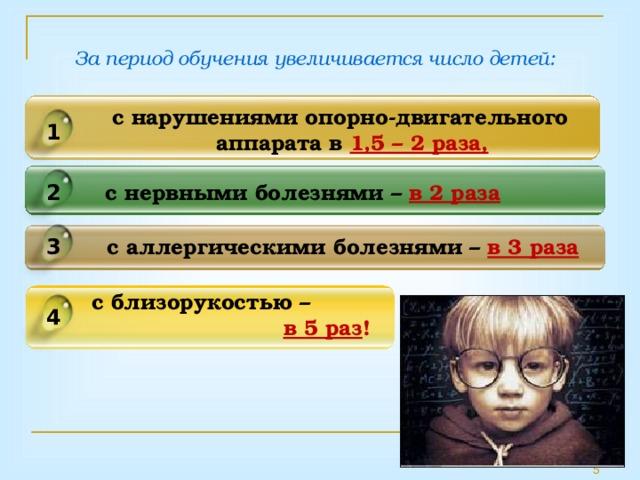 За период обучения увеличивается число детей: с нарушениями опорно-двигательного аппарата в 1,5 – 2 раза,  1 с нервными болезнями – в 2 раза 2 с аллергическими болезнями – в 3 раза 3 с близорукостью –    в 5 раз ! 4